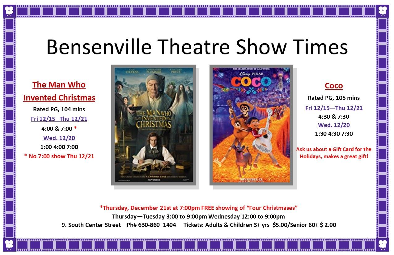 The Man Who Invented Christmas Showtimes.Bensenville Il Official Website
